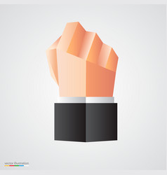 Polygonal fist on white background vector