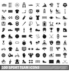 100 sport team icons set simple style vector image