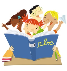 Children who read at school vector