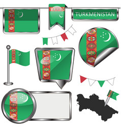 Glossy icons with flag of turkmenistan vector