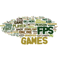 Fps first person shooter games text background vector
