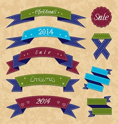 Christmas collection variation labels and ribbons vector image