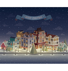 christmas night city vector image