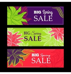 Spring sale banners with nature lace flowers vector