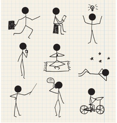 stick man figure hand drawn daily life vector image