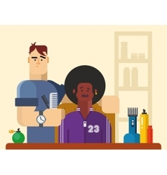 People in the barber shop vector