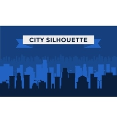 Black and white cities silhouette vector