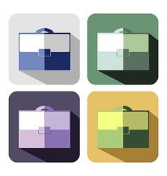Set of colorful icons of briefcase vector