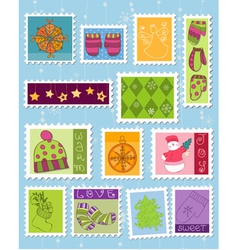 winter christmas postage stamps vector image