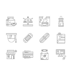 Pharmacy flat line icons set vector
