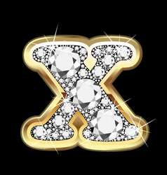 Letter x gold and diamond bling bling vector
