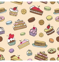 Doodle bakerycakes seamless patternvintage vector