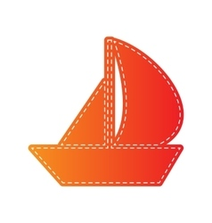 Sail boat sign orange applique isolated vector