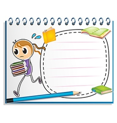 A notebook with a sketch of a girl running with vector