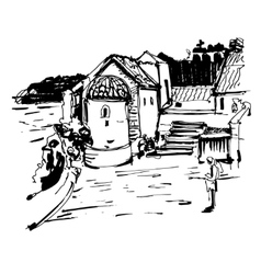 Black and white ink sketch drawing of historical vector
