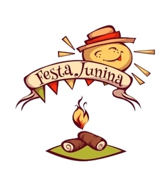 Brazilian festa junina party banner with sun vector