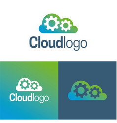 cloud and gears logo and icon vector image