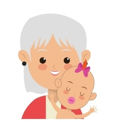 Elder woman carrying baby icon vector