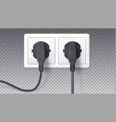 electric plugs and socket realistic black plugs vector image vector image