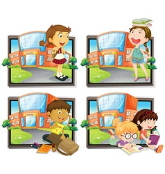 Four scenes of student at school vector image vector image