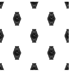 Golden watch icon in black style isolated on white vector
