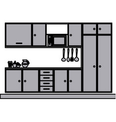 Grayscale silhouette with modern kitchen cabinets vector