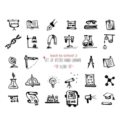 Hand-drawn sketch school tools icon set Black on vector image
