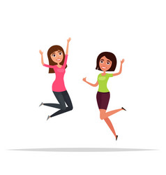 happy group of girls jumping white background vector image