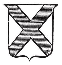 Heraldry saltire have x on shield vintage vector