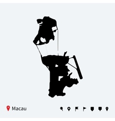 High detailed map of macau with navigation pins vector
