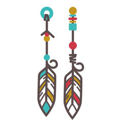 Indian earrings with feathers vector