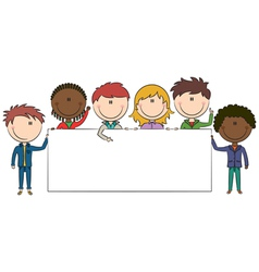 kids holding banner vector image