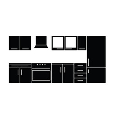 kitchen furniture in black color vector image vector image
