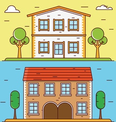 Linear flat houses Design elements for construct vector image vector image