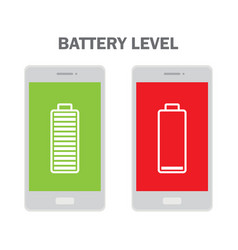 mobile phone with low and full battery vector image