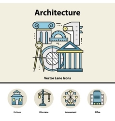 Modern color thin line concept of architecture and vector