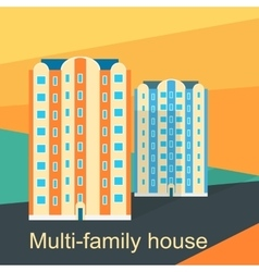 Multi-Family House Design Flat vector image