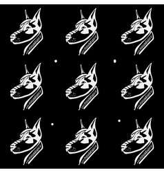 Pattern black and white monochrome Dog heads vector image