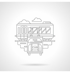 Ready to travel by train detailed line icon vector image
