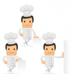 set of funny cartoon chef vector image vector image