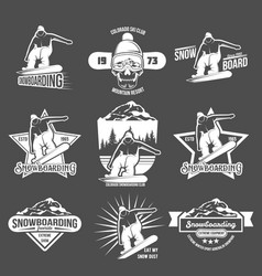 set of snowboarding badges and logotypes vector image vector image