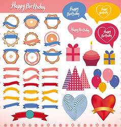 Set of vintage elements birthday holiday party vector image