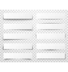 Set of white horizontal paper banners with vector image vector image