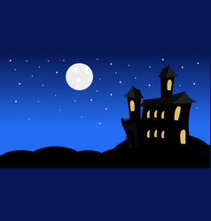 silhouette castle with ghosts in moonlight scary vector image vector image