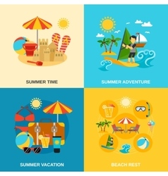 Summer vacation and adventure icons set vector