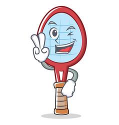 Two finger tennis racket character cartoon vector