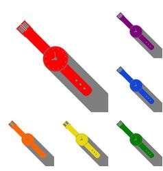 watch sign set of red orange vector image vector image
