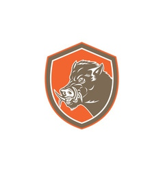 Wild boar razorback head side shield retro vector