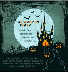 Green grungy halloween background with castle vector