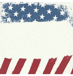 Empty white grunge canvas on american flag vector image